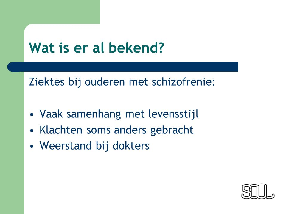 Wat is er al bekend.