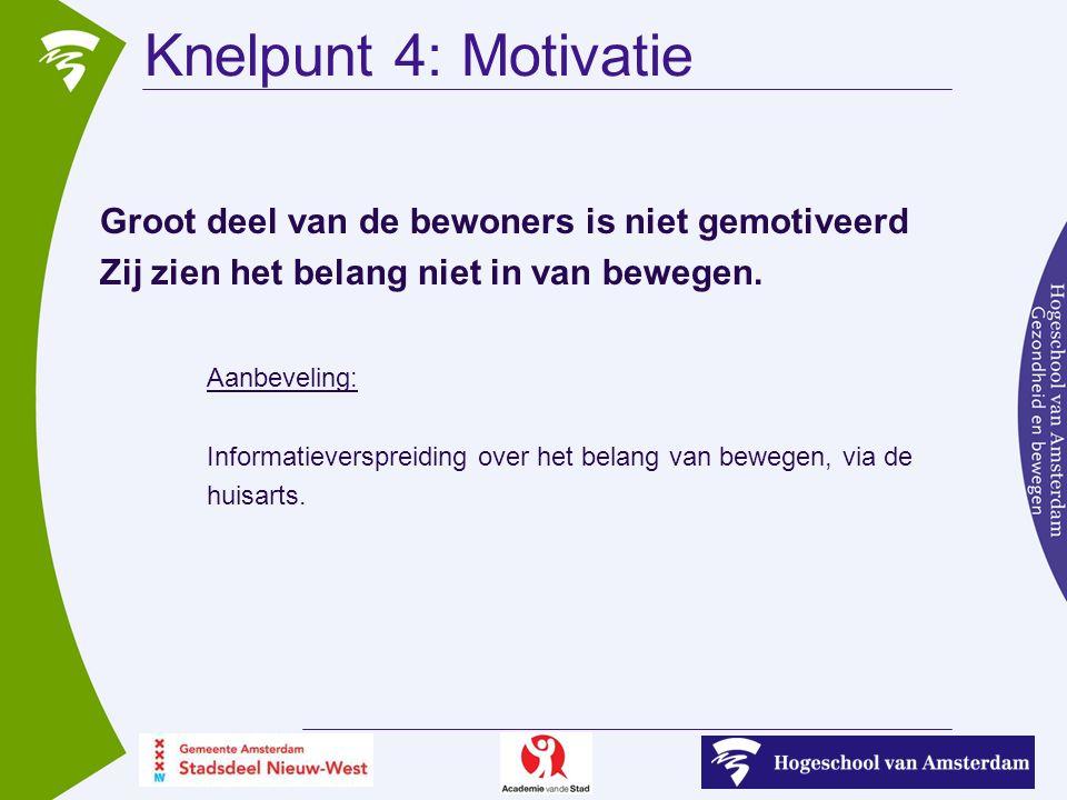 Knelpunt 4: Motivatie Groot deel van de bewoners is niet gemotiveerd Zij zien het belang niet in van bewegen.