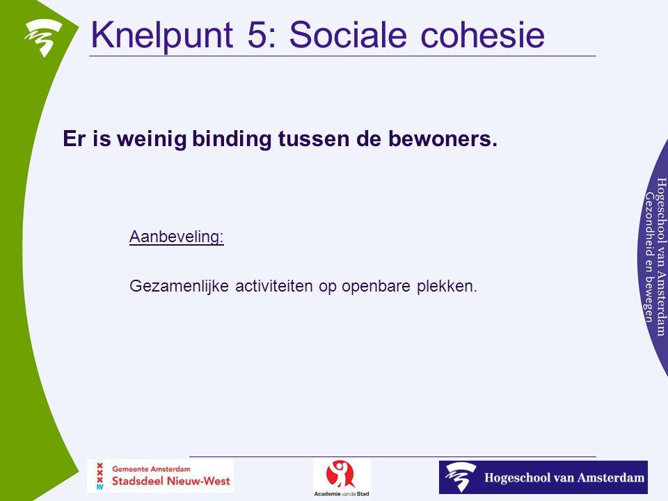 Knelpunt 5: Sociale cohesie Er is weinig binding tussen de bewoners.