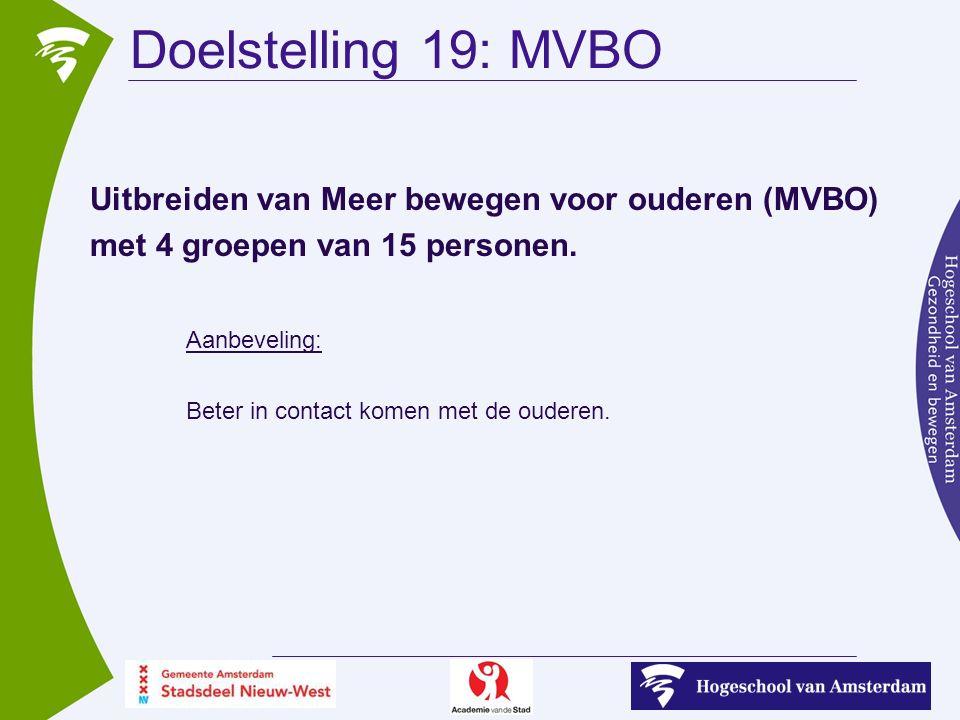 Uitbreiden van Meer bewegen voor ouderen (MVBO) met 4 groepen van 15 personen.