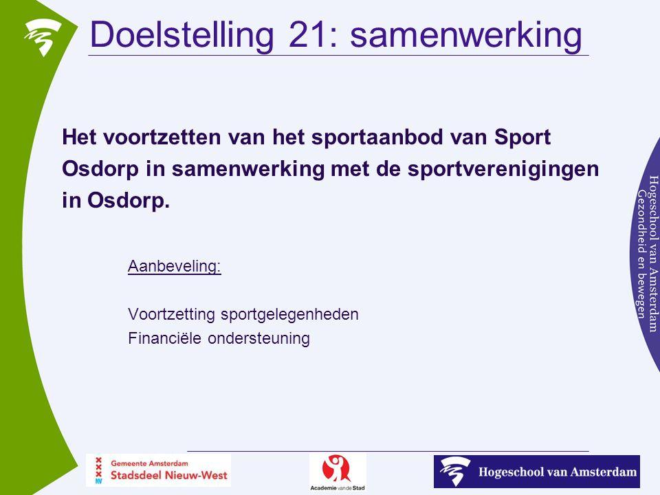 Doelstelling 21: samenwerking Het voortzetten van het sportaanbod van Sport Osdorp in samenwerking met de sportverenigingen in Osdorp.