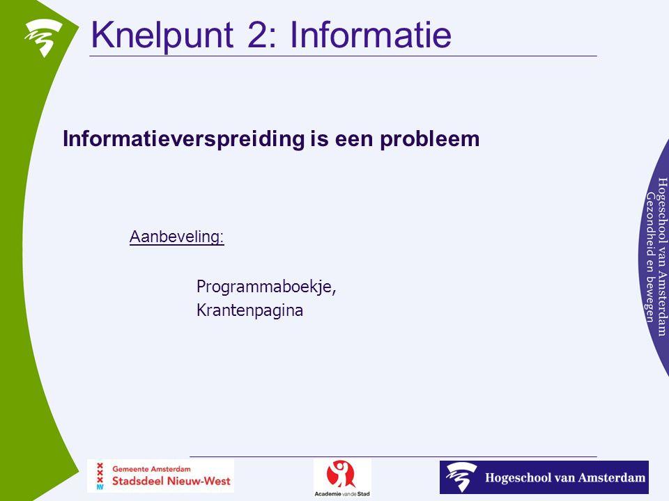 Knelpunt 2: Informatie Informatieverspreiding is een probleem Aanbeveling: Programmaboekje, Krantenpagina