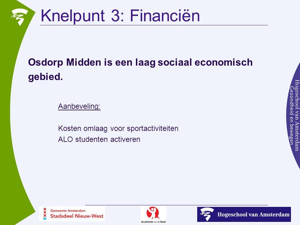 Knelpunt 3: Financiën Osdorp Midden is een laag sociaal economisch gebied.