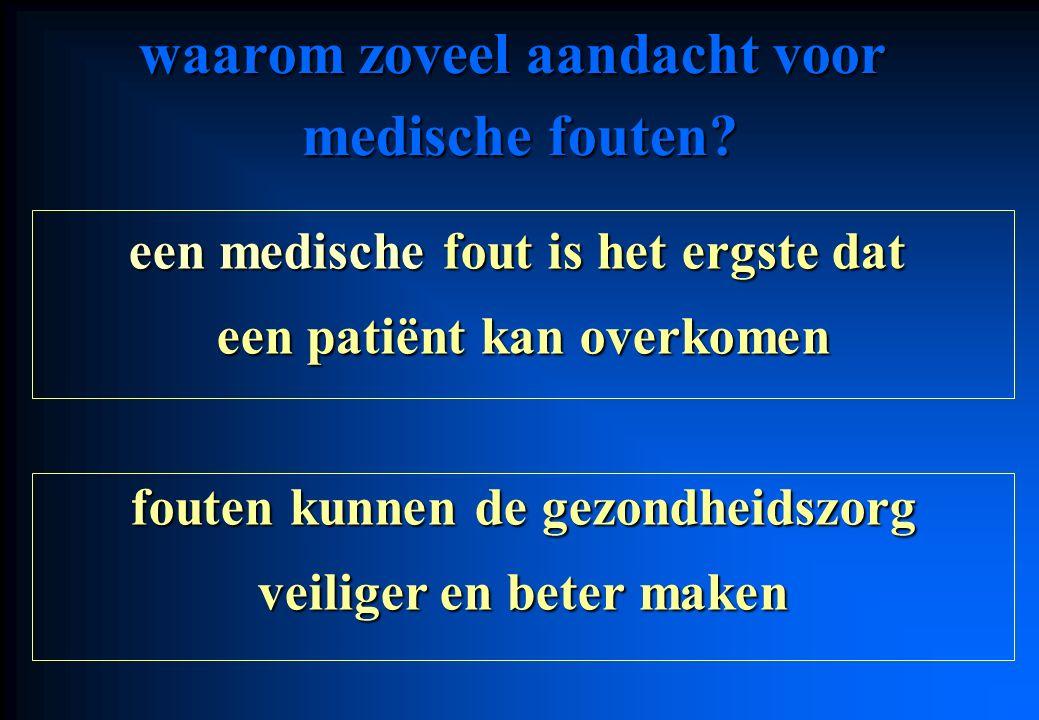 waarom zoveel aandacht voor medische fouten? een medische fout is het ergste dat een patiënt kan overkomen fouten kunnen de gezondheidszorg veiliger e