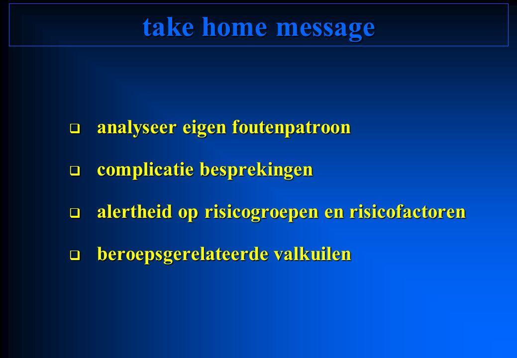 take home message  analyseer eigen foutenpatroon  complicatie besprekingen  alertheid op risicogroepen en risicofactoren  beroepsgerelateerde valk