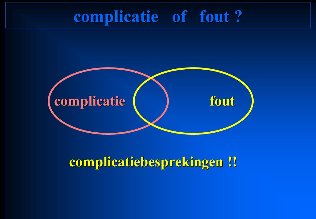 complicatiebesprekingen !! complicatiefout