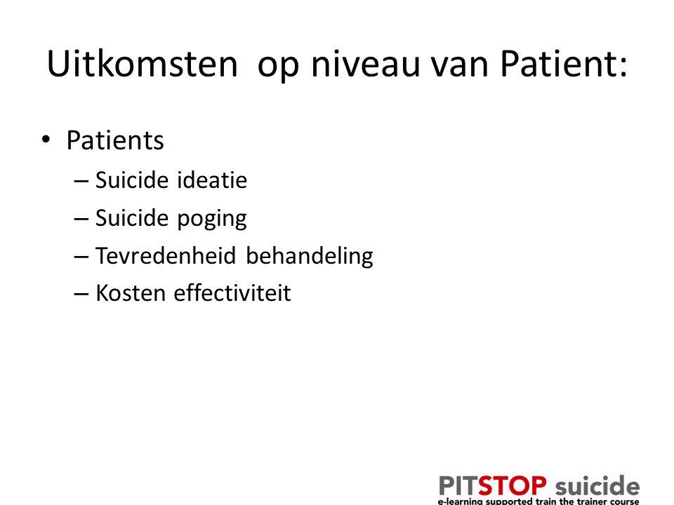 Uitkomsten op niveau van Patient: Patients – Suicide ideatie – Suicide poging – Tevredenheid behandeling – Kosten effectiviteit