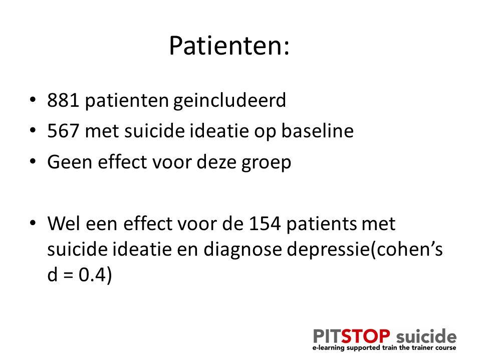 Patienten: 881 patienten geincludeerd 567 met suicide ideatie op baseline Geen effect voor deze groep Wel een effect voor de 154 patients met suicide ideatie en diagnose depressie(cohen's d = 0.4)
