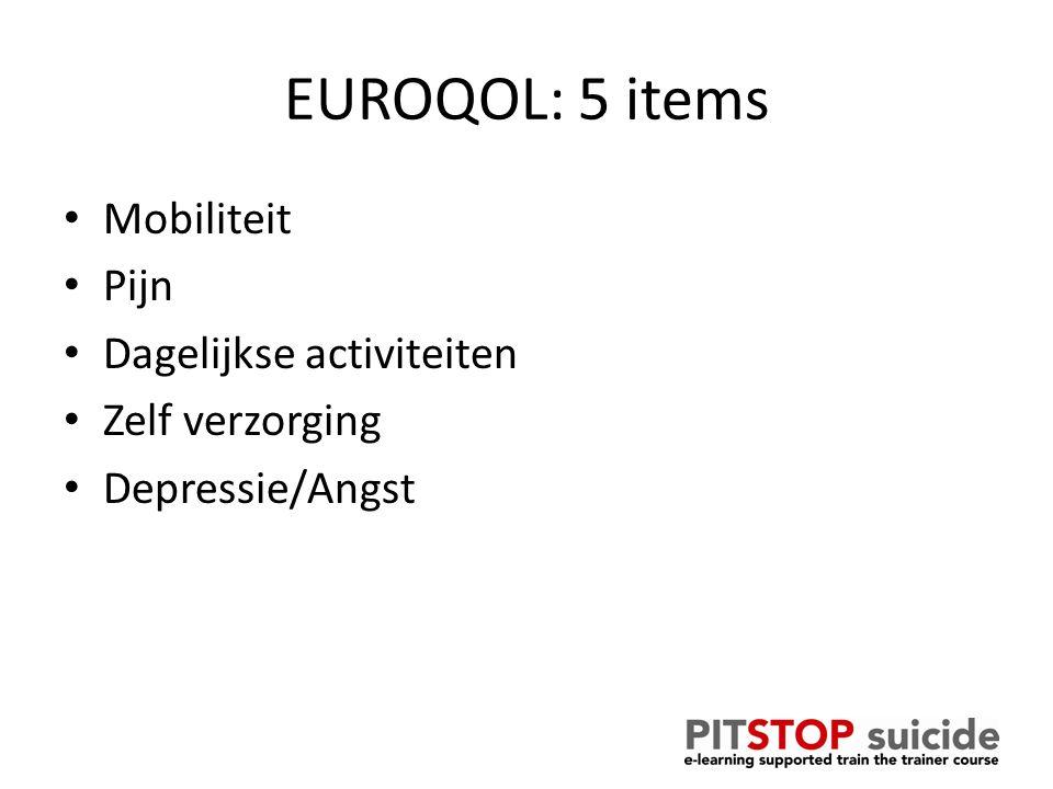 EUROQOL: 5 items Mobiliteit Pijn Dagelijkse activiteiten Zelf verzorging Depressie/Angst