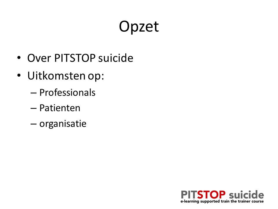 Opzet Over PITSTOP suicide Uitkomsten op: – Professionals – Patienten – organisatie