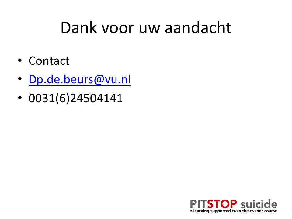 Dank voor uw aandacht Contact Dp.de.beurs@vu.nl 0031(6)24504141