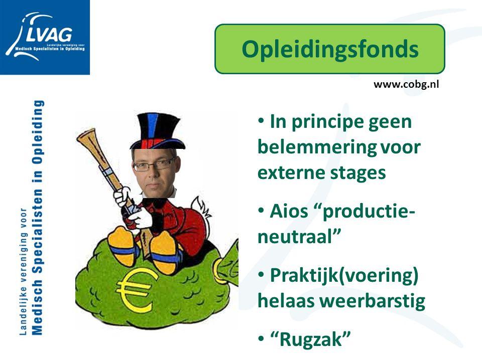 Opleidingsfonds www.cobg.nl In principe geen belemmering voor externe stages Aios productie- neutraal Praktijk(voering) helaas weerbarstig Rugzak