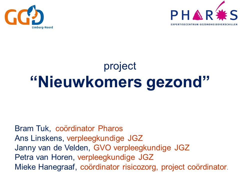 Bram Tuk, coördinator Pharos Ans Linskens, verpleegkundige JGZ Janny van de Velden, GVO verpleegkundige JGZ Petra van Horen, verpleegkundige JGZ Mieke