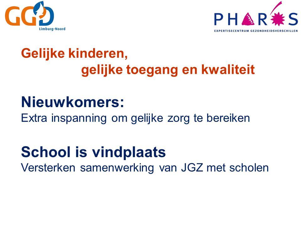 Gelijke kinderen, gelijke toegang en kwaliteit Nieuwkomers: Extra inspanning om gelijke zorg te bereiken School is vindplaats Versterken samenwerking