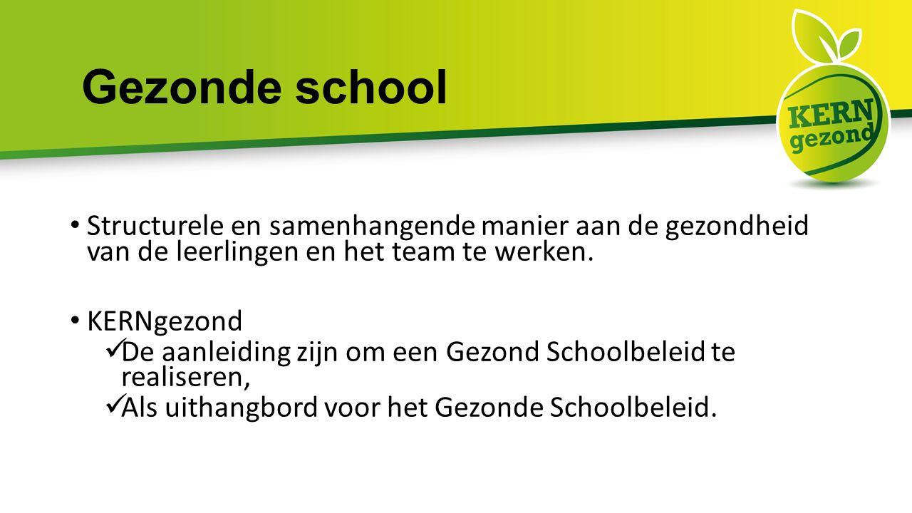 Gezonde school Structurele en samenhangende manier aan de gezondheid van de leerlingen en het team te werken.