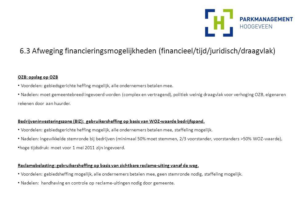 6.3 Afweging financieringsmogelijkheden (financieel/tijd/juridisch/draagvlak) OZB: opslag op OZB Voordelen: gebiedsgerichte heffing mogelijk, alle ondernemers betalen mee.