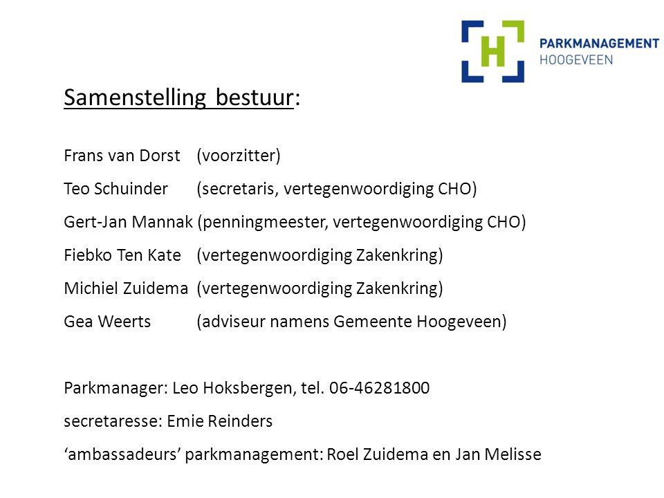 Samenstelling bestuur: Frans van Dorst (voorzitter) Teo Schuinder (secretaris, vertegenwoordiging CHO) Gert-Jan Mannak (penningmeester, vertegenwoordiging CHO) Fiebko Ten Kate (vertegenwoordiging Zakenkring) Michiel Zuidema (vertegenwoordiging Zakenkring) Gea Weerts (adviseur namens Gemeente Hoogeveen) Parkmanager: Leo Hoksbergen, tel.