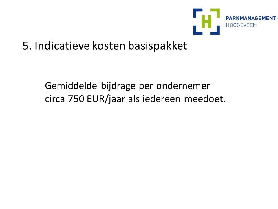 5. Indicatieve kosten basispakket Gemiddelde bijdrage per ondernemer circa 750 EUR/jaar als iedereen meedoet.