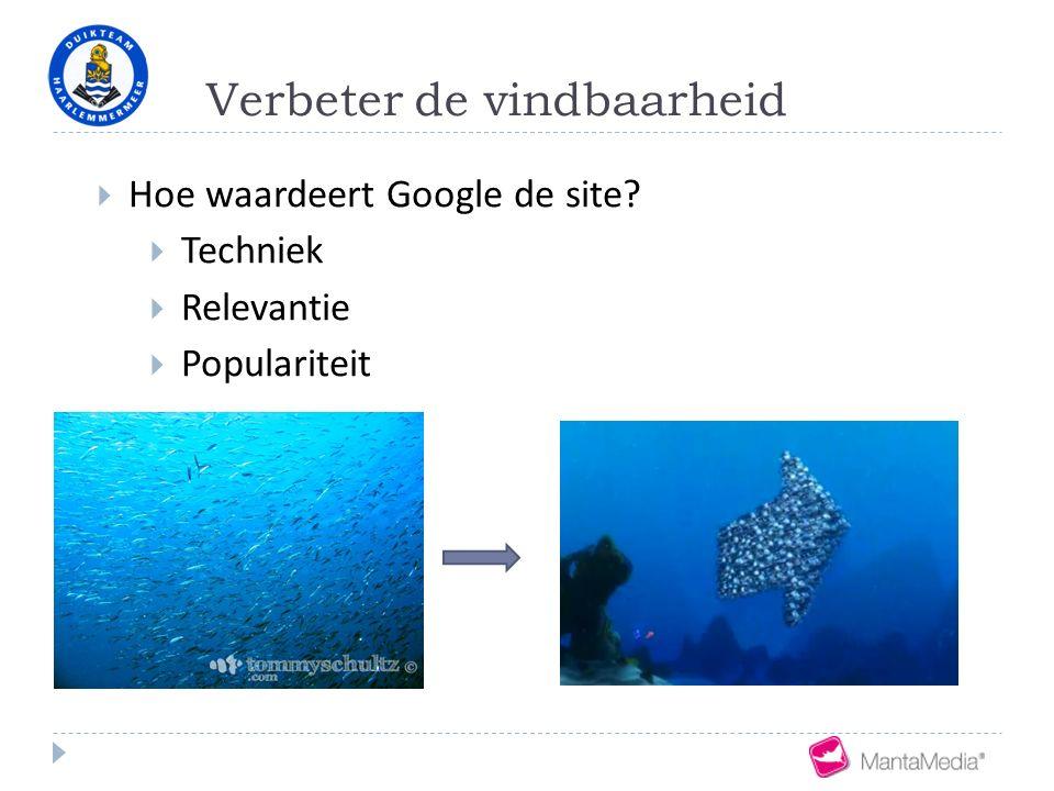 Verbeter de vindbaarheid  Hoe waardeert Google de site?  Techniek  Relevantie  Populariteit
