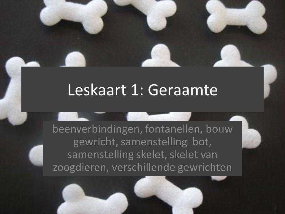 Leskaart 1: Geraamte beenverbindingen, fontanellen, bouw gewricht, samenstelling bot, samenstelling skelet, skelet van zoogdieren, verschillende gewri