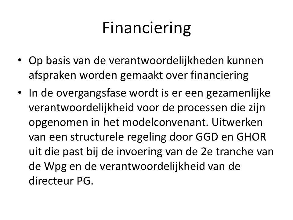 Financiering Op basis van de verantwoordelijkheden kunnen afspraken worden gemaakt over financiering In de overgangsfase wordt is er een gezamenlijke verantwoordelijkheid voor de processen die zijn opgenomen in het modelconvenant.