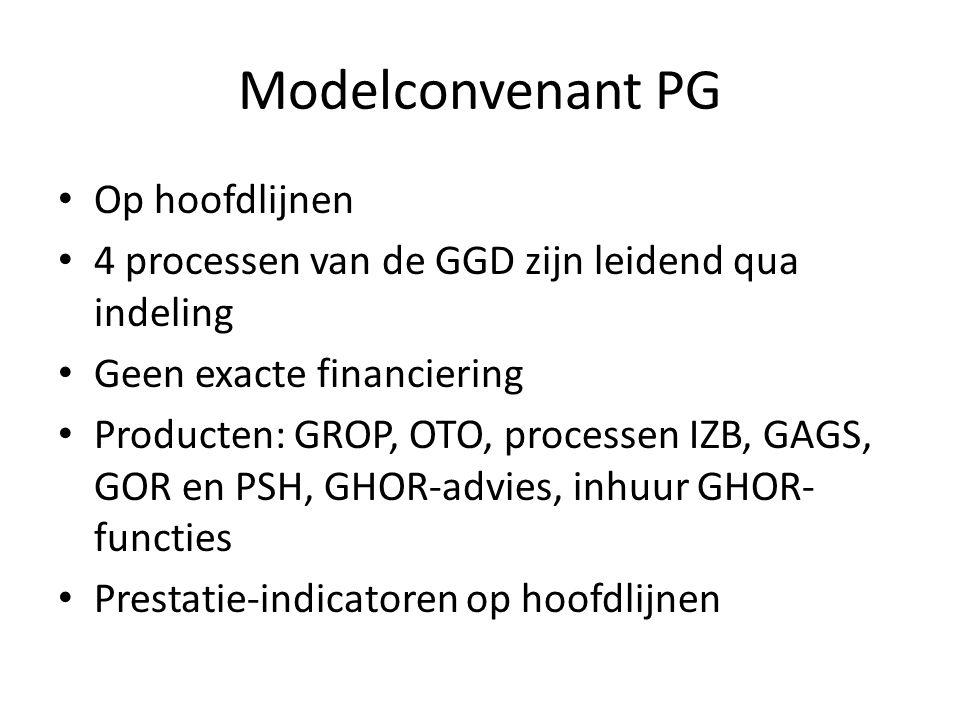 Modelconvenant PG Op hoofdlijnen 4 processen van de GGD zijn leidend qua indeling Geen exacte financiering Producten: GROP, OTO, processen IZB, GAGS, GOR en PSH, GHOR-advies, inhuur GHOR- functies Prestatie-indicatoren op hoofdlijnen