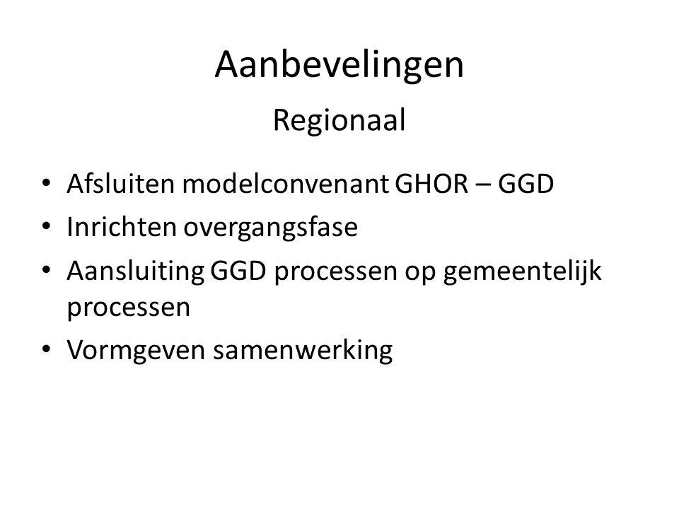 Aanbevelingen Afsluiten modelconvenant GHOR – GGD Inrichten overgangsfase Aansluiting GGD processen op gemeentelijk processen Vormgeven samenwerking Regionaal
