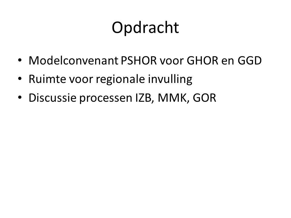 Opdracht Modelconvenant PSHOR voor GHOR en GGD Ruimte voor regionale invulling Discussie processen IZB, MMK, GOR