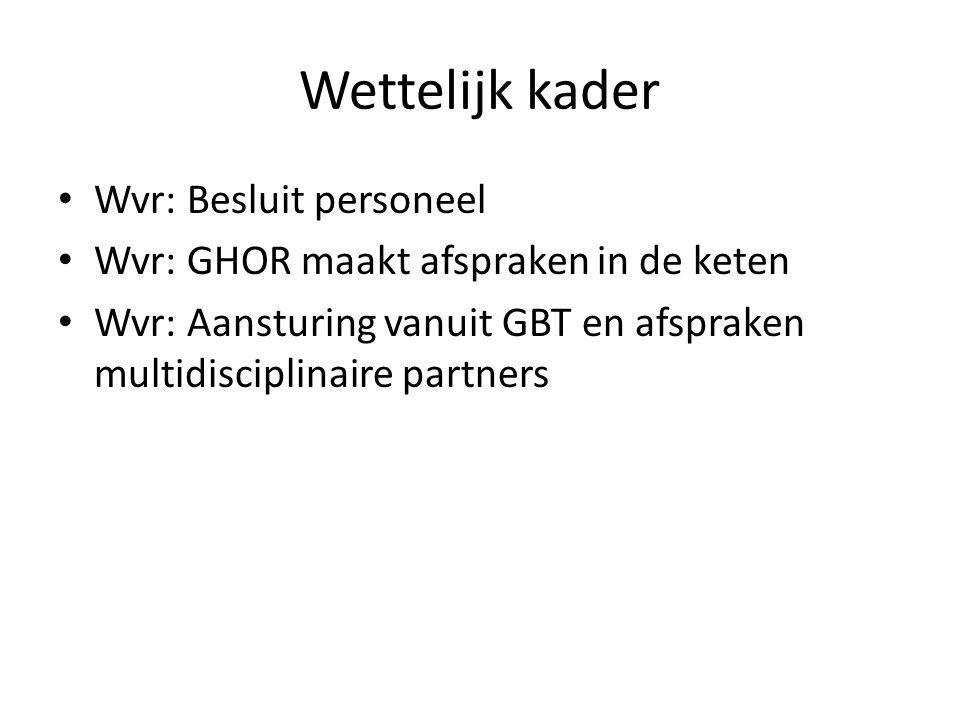 Wettelijk kader Wvr: Besluit personeel Wvr: GHOR maakt afspraken in de keten Wvr: Aansturing vanuit GBT en afspraken multidisciplinaire partners