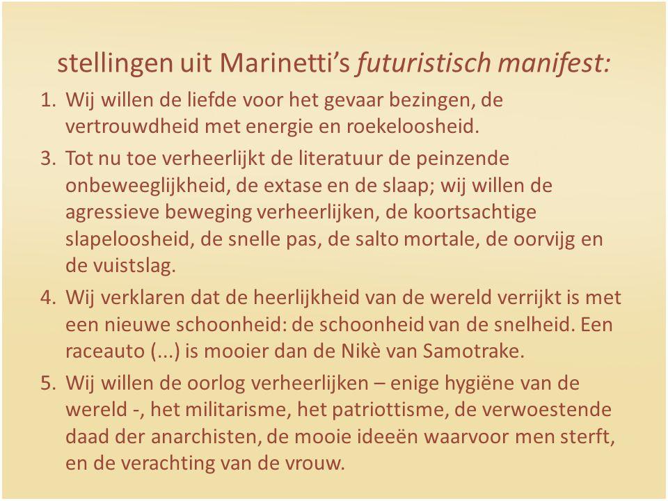 stellingen uit Marinetti's futuristisch manifest: 1.