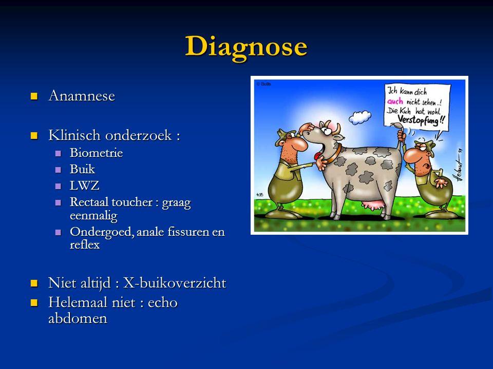 Diagnose Anamnese Anamnese Klinisch onderzoek : Klinisch onderzoek : Biometrie Biometrie Buik Buik LWZ LWZ Rectaal toucher : graag eenmalig Rectaal to