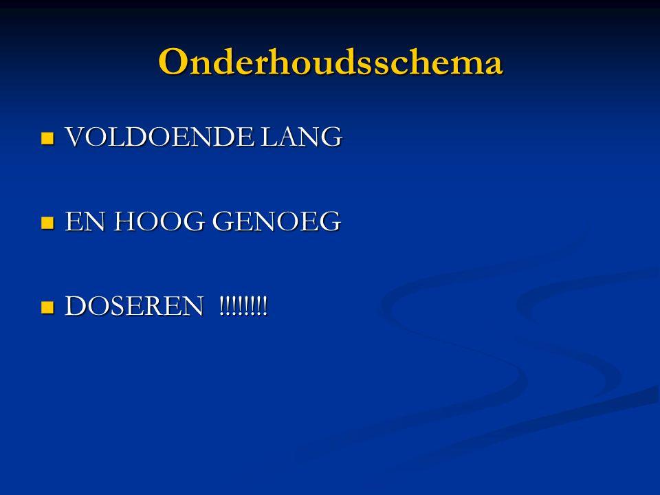 Onderhoudsschema VOLDOENDE LANG VOLDOENDE LANG EN HOOG GENOEG EN HOOG GENOEG DOSEREN !!!!!!!! DOSEREN !!!!!!!!