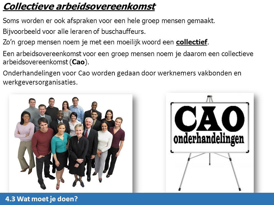 Collectieve arbeidsovereenkomst Soms worden er ook afspraken voor een hele groep mensen gemaakt.