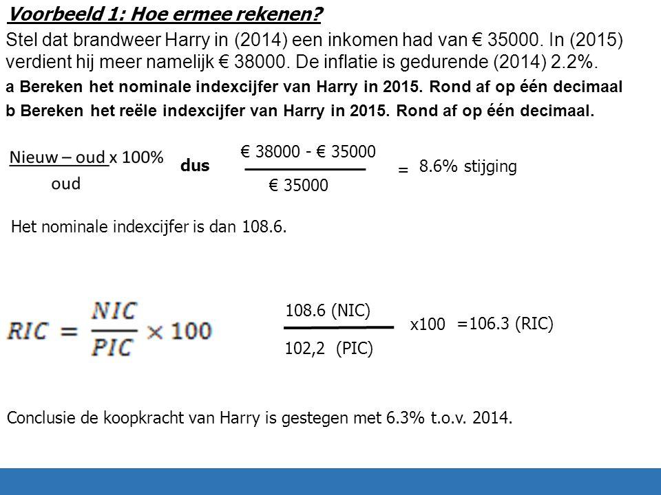 Voorbeeld 1: Hoe ermee rekenen. Stel dat brandweer Harry in (2014) een inkomen had van € 35000.