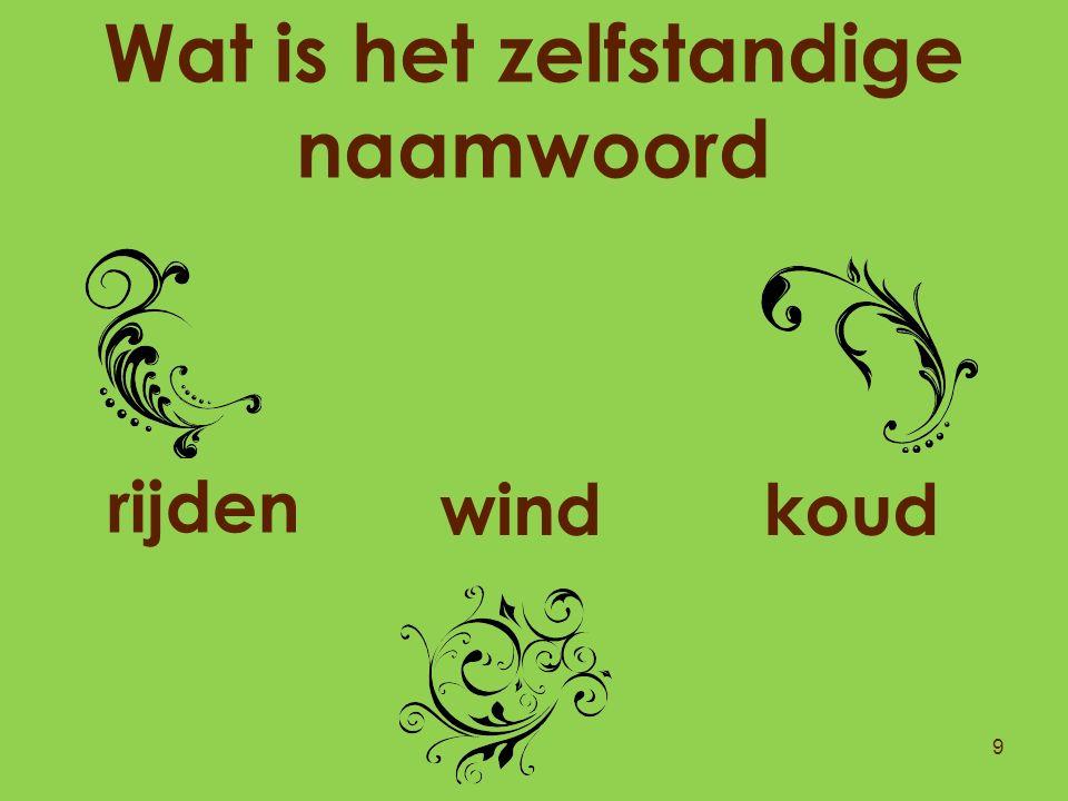 Wat is het zelfstandige naamwoord 9 wind rijden koud