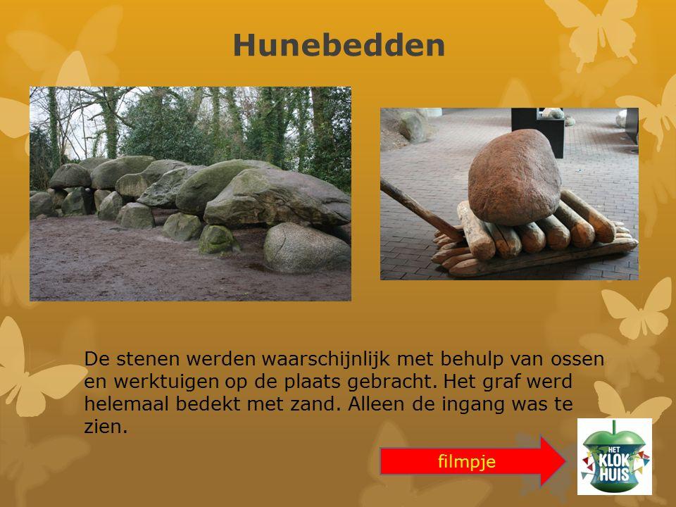 Hunebedden De stenen werden waarschijnlijk met behulp van ossen en werktuigen op de plaats gebracht. Het graf werd helemaal bedekt met zand. Alleen de