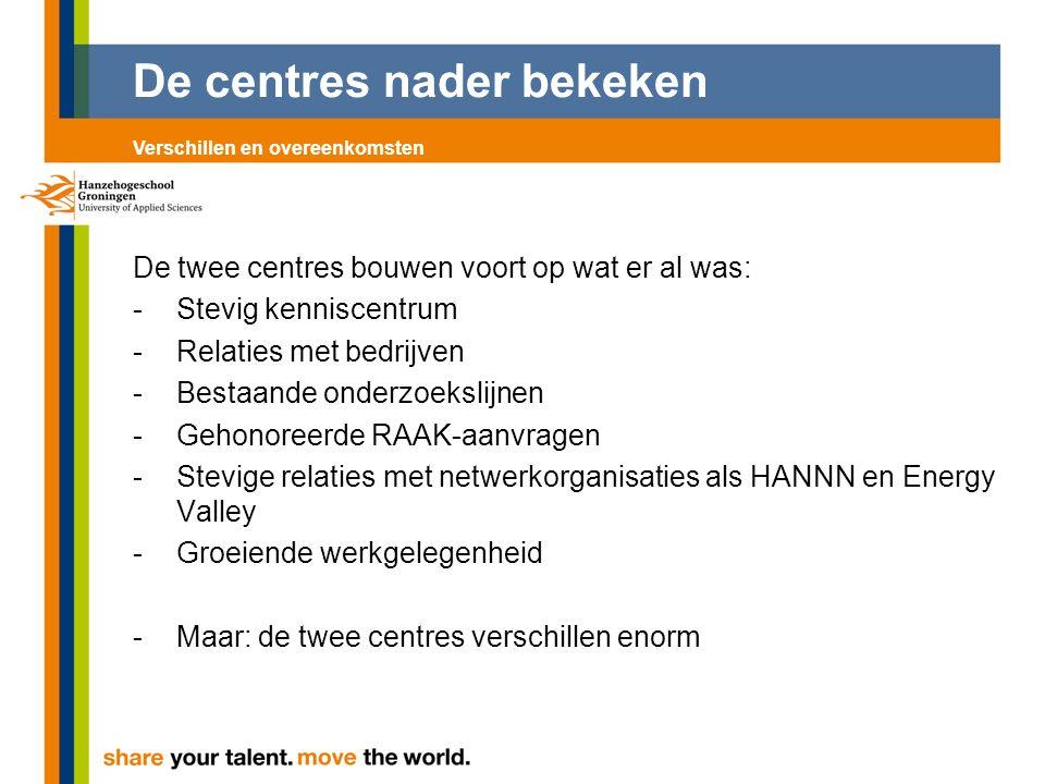 De centres nader bekeken De twee centres bouwen voort op wat er al was: -Stevig kenniscentrum -Relaties met bedrijven -Bestaande onderzoekslijnen -Geh
