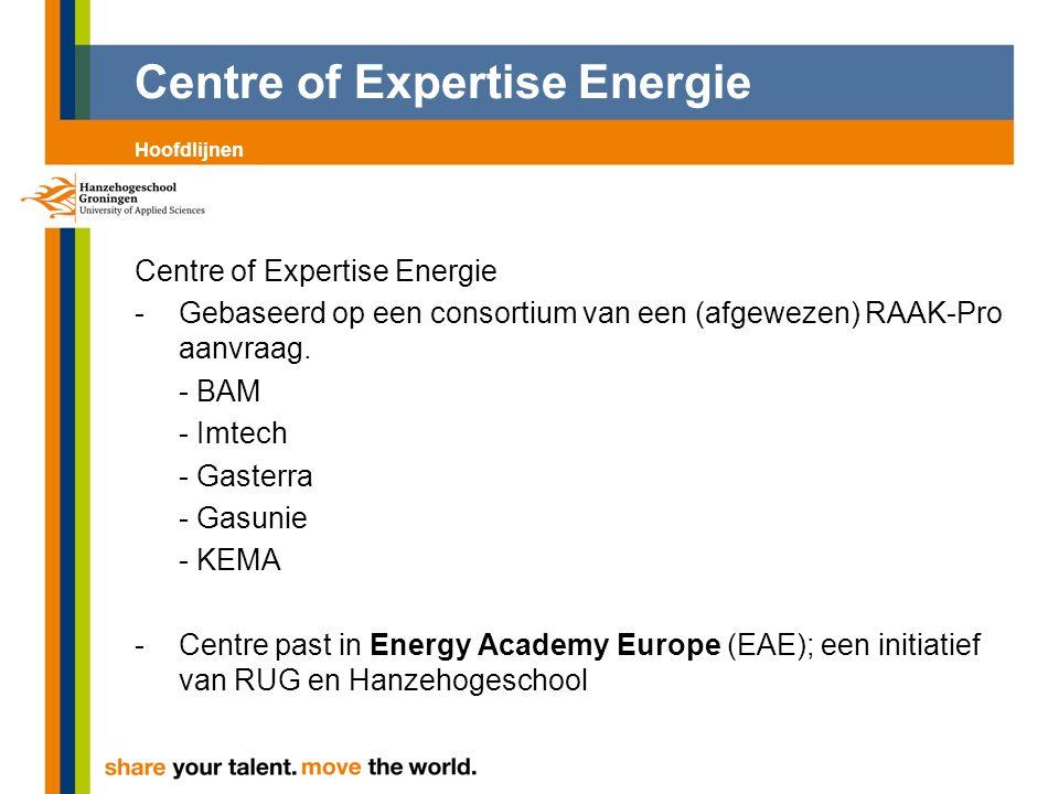 Centre of Expertise Energie -Gebaseerd op een consortium van een (afgewezen) RAAK-Pro aanvraag. - BAM - Imtech - Gasterra - Gasunie - KEMA -Centre pas