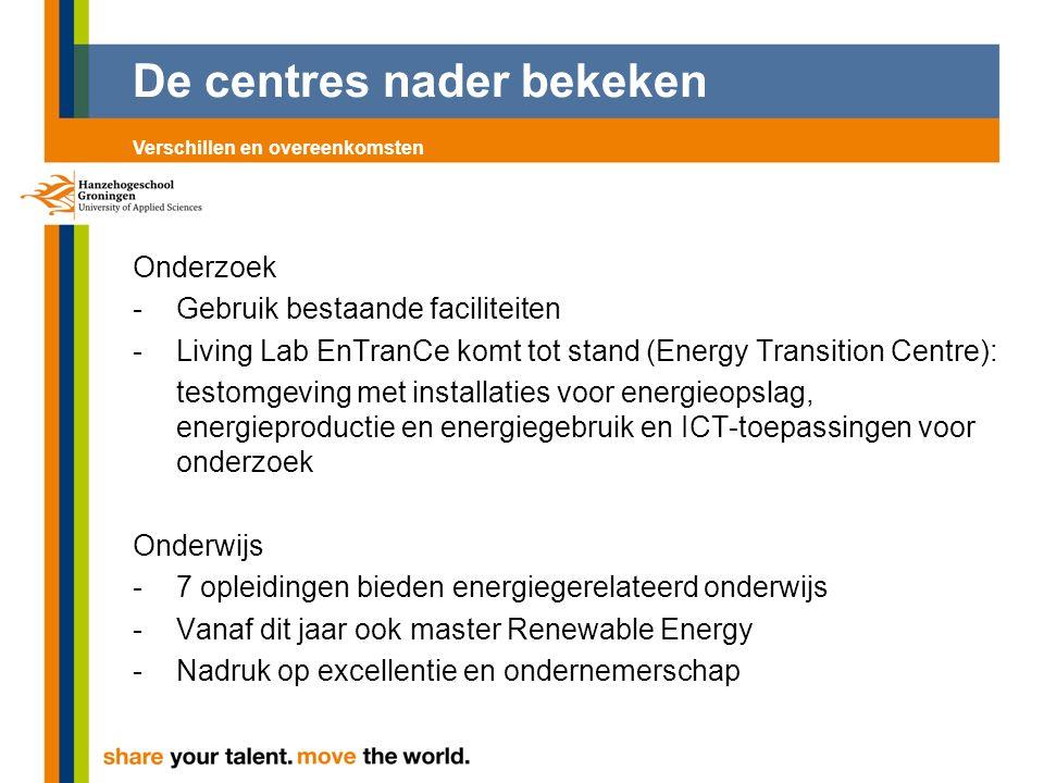 De centres nader bekeken Onderzoek - Gebruik bestaande faciliteiten -Living Lab EnTranCe komt tot stand (Energy Transition Centre): testomgeving met installaties voor energieopslag, energieproductie en energiegebruik en ICT-toepassingen voor onderzoek Onderwijs -7 opleidingen bieden energiegerelateerd onderwijs -Vanaf dit jaar ook master Renewable Energy -Nadruk op excellentie en ondernemerschap Verschillen en overeenkomsten