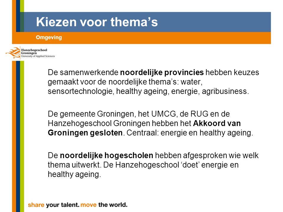 Kiezen voor thema's De samenwerkende noordelijke provincies hebben keuzes gemaakt voor de noordelijke thema's: water, sensortechnologie, healthy ageing, energie, agribusiness.
