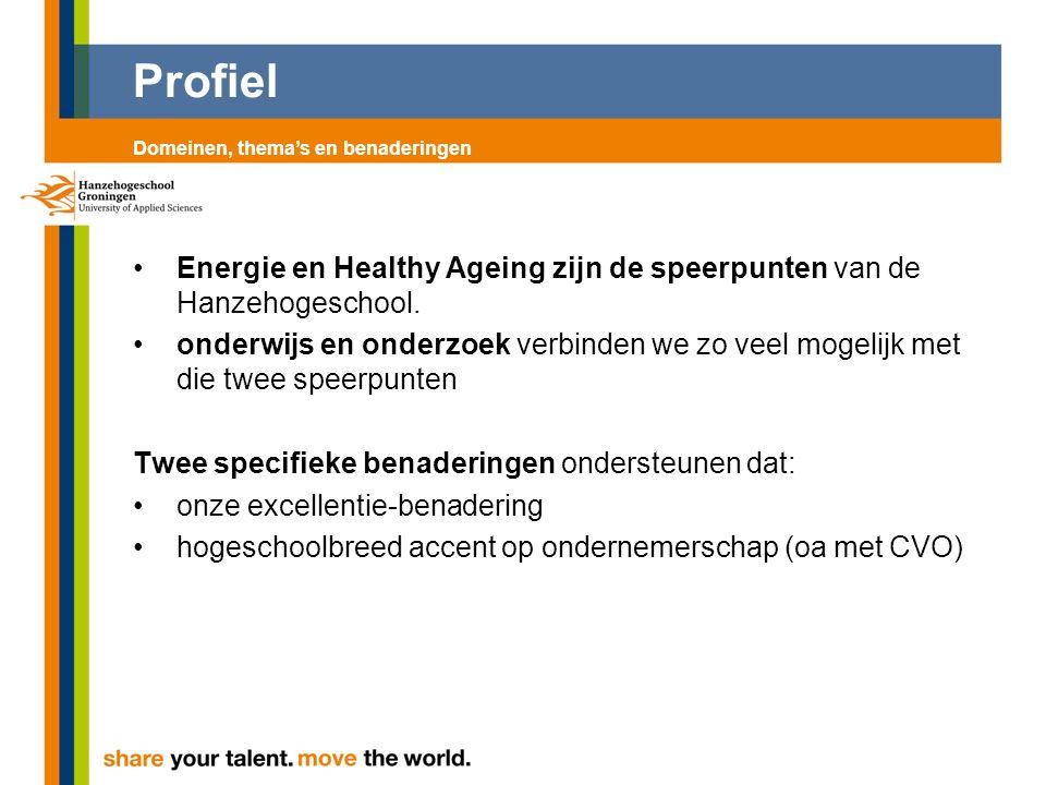 Profiel Energie en Healthy Ageing zijn de speerpunten van de Hanzehogeschool. onderwijs en onderzoek verbinden we zo veel mogelijk met die twee speerp