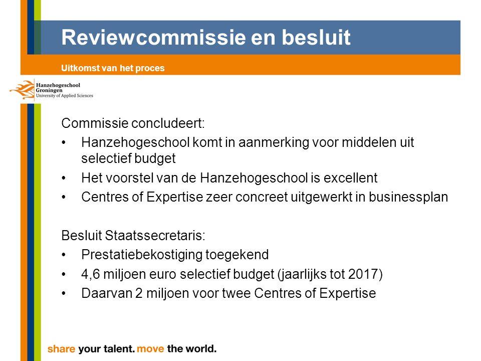Reviewcommissie en besluit Commissie concludeert: Hanzehogeschool komt in aanmerking voor middelen uit selectief budget Het voorstel van de Hanzehoges