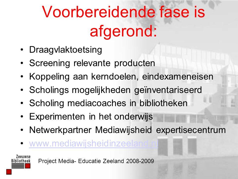 www.mediawijsheidinzeeland.nl 7 stappen Documenten Leerlijn po en vo Koppeling Kerndoelen en eindexameneisen Productbeschrijvingen Nieuwe ontwikkelingen Project Media- Educatie Zeeland 2008-2009