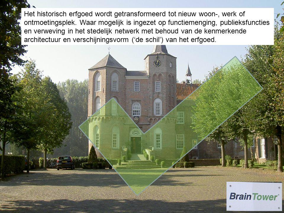 Het historisch erfgoed wordt getransformeerd tot nieuw woon-, werk of ontmoetingsplek.