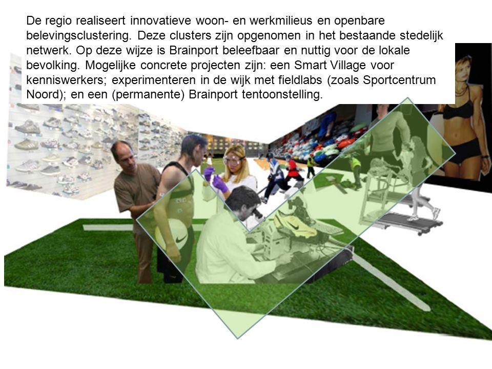 De regio realiseert innovatieve woon- en werkmilieus en openbare belevingsclustering.
