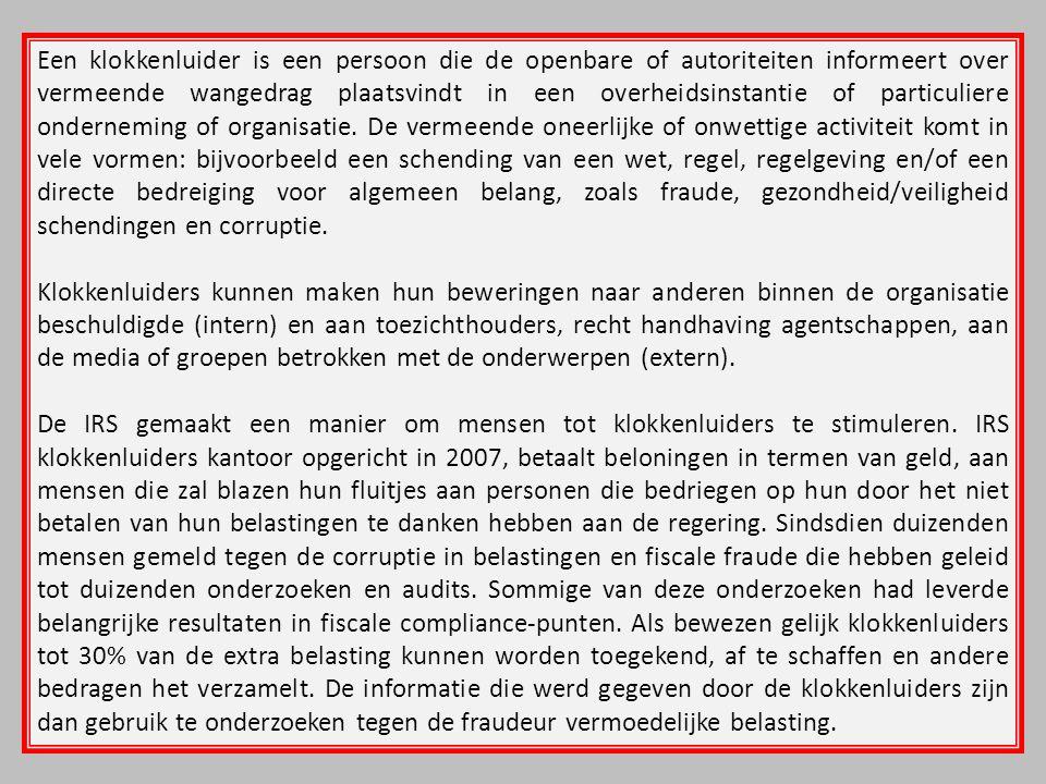 Een klokkenluider is een persoon die de openbare of autoriteiten informeert over vermeende wangedrag plaatsvindt in een overheidsinstantie of particul