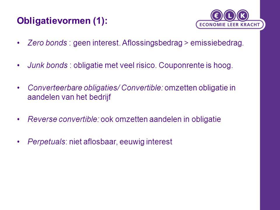 Obligatievormen (1): Zero bonds : geen interest. Aflossingsbedrag > emissiebedrag.