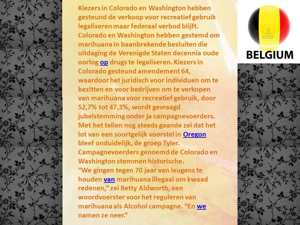 Kiezers in Colorado en Washington hebben gesteund de verkoop voor recreatief gebruik legaliseren maar federaal verbod blijft. Colorado en Washington h