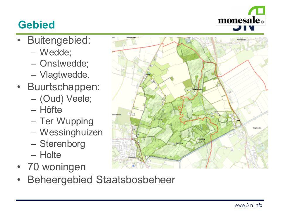 www.3-n.info Gebied Buitengebied: –Wedde; –Onstwedde; –Vlagtwedde. Buurtschappen: –(Oud) Veele; –Höfte –Ter Wupping –Wessinghuizen –Sterenborg –Holte