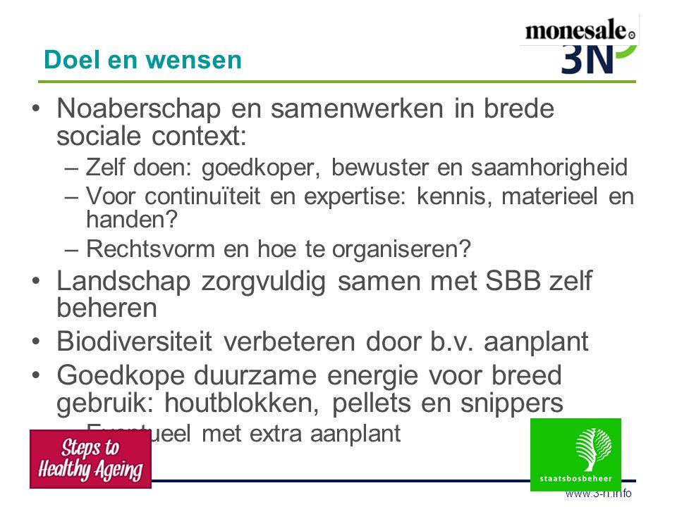 www.3-n.info Doel en wensen Noaberschap en samenwerken in brede sociale context: –Zelf doen: goedkoper, bewuster en saamhorigheid –Voor continuïteit en expertise: kennis, materieel en handen.